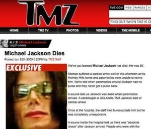 TMZ reports Michael Jackson's death